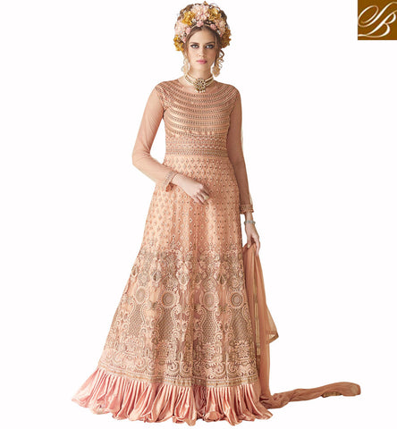 STYLISH BAZAAR Latest peach heavy work designer gown online for India & US, UK women SYB93