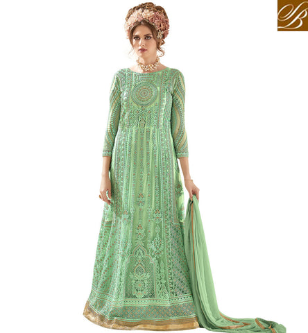STYLISH BAZAAR Buy Sea green heavy work designer Indo-western gown online Eid shopping SYB94