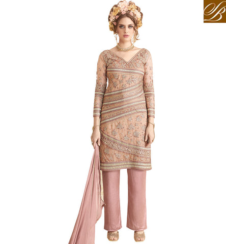 Dark pink heavy embroidery lameez with palazzo online latest Eid dress SYB95