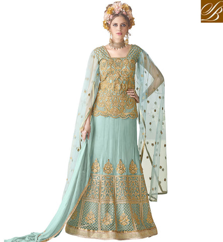 STYLISH BAZAAR Sky blue heavy embroidery long indian gown latest Eid dresses for women SYB96
