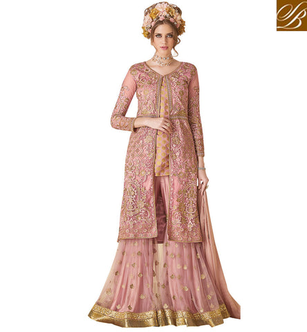 STYLISH BAZAAR Dark pink designer jacket kameez with palazzo latest Eid women dresses SYB98