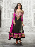 GLAMOROUS BLACK FAUX GEORGETTE ANARKALI SUIT WITH CHIFFON DUPATTA 1169 RAMA TAJ 1523