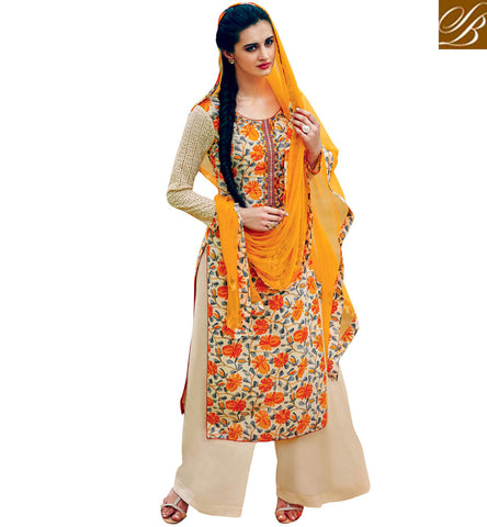 STYLISH BAZAAR CREAM COTTON SALWAR KAMEEZ WITH YELLOW OR ORANGE DUPATTA OPTION LATEST SUMMER WEAR COLLECTION VDABH20938