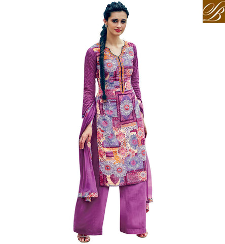 STYLISH BAZAAR BUY ELIZABETHAN COLLAR NECK STYLE COTTON SALWAR KAMEEZ WITH TWO COLOR CHOICE OF PURPLE AND BOTTLE GREEN VDABH20940