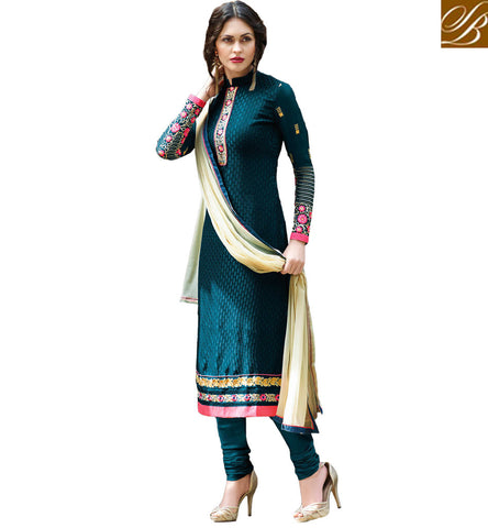 STYLISH BAZAAR BLUE BRASSO CASUAL WEAR STRAIGHT CUT DESIGNER SALWAR KAMEEZ WITH LACE BORDER WORK VDADR19886
