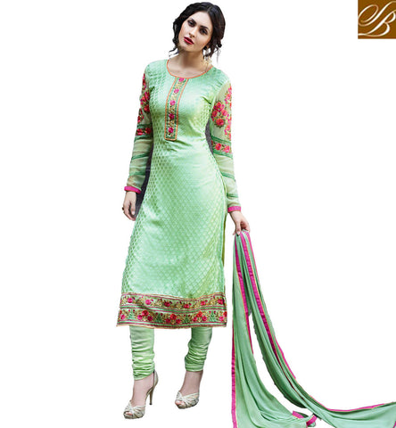 STYLISH BAZAAR BEAUTIFUL PISTA GREEN BRASSO CASUAL WEAR STRAIGHT CUT DRESS HAVING FLOWERY WORKED SLEEVES VDADR19887