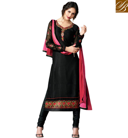 STYLISH BAZAAR WONDERFUL BLACK DESIGNED BRASSO CASUAL WEAR STRAIGHT CUT SALWAR KAMEEZ SUIT VDADR19890