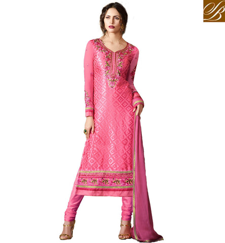 STYLISH BAZAAR DAZZLING PINK DESIGNER BRASSO CASUAL WEAR STRAIGHT CUT SALWAR SUIT WITH WELL NECK DESIGN VDADR19891