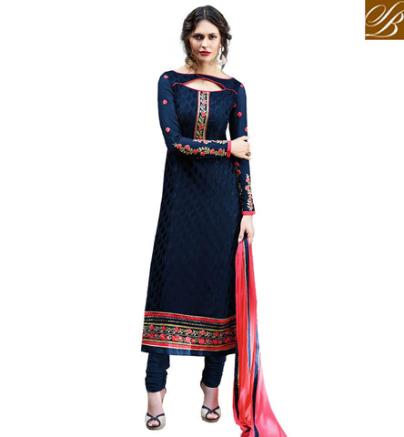 DAZZLING BLUE COLOUR CASUAL WEAR STRAIGHT CUT DESIGNER CHURIDAR SALWAR KAMEEZ VDADR19893