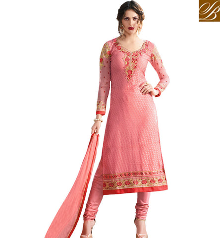 STYLISH BAZAAR SURPRISING PEACH COLOUR BRASSO WITH BOUNTIFUL LOOK CASUAL WEAR STRAIGHT CUT SUIT VDADR19894