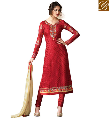 STYLISH BAZAAR CAPTIVATING RED COLOUR BRASSO SHOWING AMAZING LOOK STRAIGHT CUT CASUAL WEAR SALWAR SUIT VDADR19896