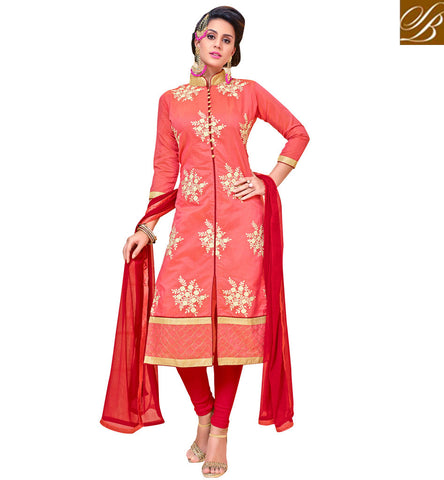 STYLISH BAZAAR Peach kamees and red shalwaar or ghaghra INdian wear for bridal online VDANT21267