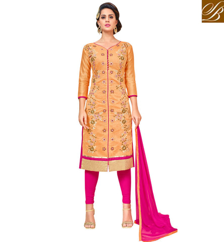 STYLISH BAZAAR Buy Orange long Indian kameez with dark pink lengha or shalwaar option VDANT21274
