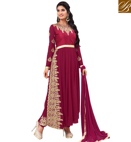 STYLISH BAZAAR WONDERFULLY DESIGNED MAGENTA GOWN STYLE INDOWESTERN SALWAR SUIT DESIGN READYMADE CHURIDARS AND WOMEN SALWAR ONLINE VDAPK20291
