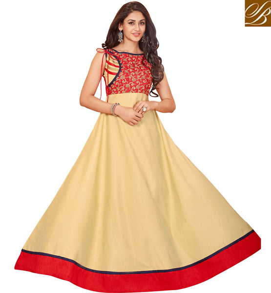 STYLISH BAZAAR COUTURE INDIAN MULTICOLORED SLEEVELESS DESIGNER LONG KURTIS ONLINE LATEST STYLISH BAZAAR COLLECTION OF INDOWESTERN BALL GOWN STYLE KURTIS VDARP20297