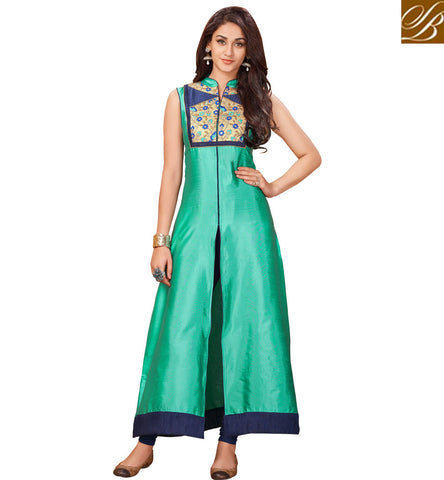 A STYLISH BAZAAR PRESENTATION BUY AMAZING SLEEVELESS MID-SLIT INDIAN SUMMER KURTI TRENDY DESIGNS OF KURTA FOR WOMEN IN INDIA ONLINE VDARP20298