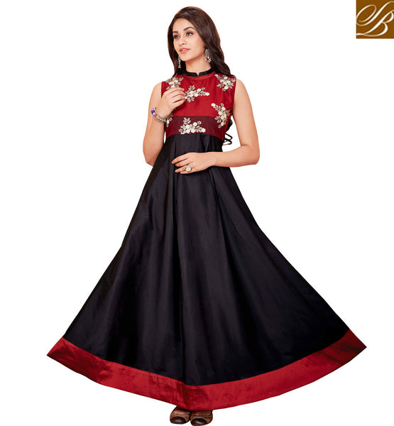 STYLISH BAZAAR AMAZING BLACK AND RED INDO WESTERN KURTA FOR WOMEN IN INDIA UNIQUE DESIGNER KURTIS STYLE INDIAN COLLECTION VDARP20299