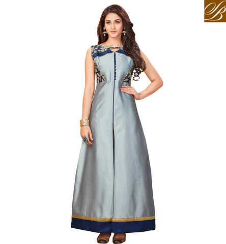 STYLISH BAZAAR STUNNING STITCHED INDO WESTERN BLUE TAFFETA KURTI COLLECTION OF KURTAS ONLINE FOR WOMEN IN INDIA VDARP20300