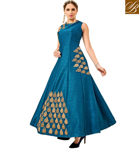 STYLISH BAZAAR ROYAL BLUE SLEEVELESS WEDDING GOWN STYLE SILK COCKTAIL DRESS ONLINE FOR WOMEN IN INDIA VDATF20820