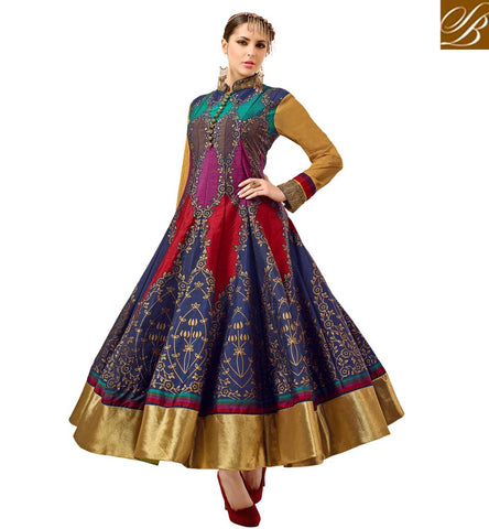 STYLISH BAZAAR ATTRACTIVE INDIAN DESIGNER COLLAR NECK WEDDING ANARKALI HEAVY FEMALE SILK SHALWAR SUIT ONLINE VDATF20821