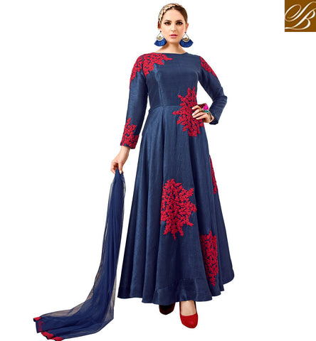 STYLISH BAZAAR SHOP BLUE DESIGNER INDO WESTERN GOWN WITH SLEEVES LATEST BOLLYWOOD STYLE GOWNS FOR WOMEN VDATF20823