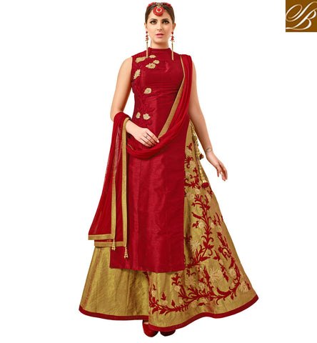 STYLISH BAZAAR INDIAN WEAR ONLINE RED AND BEIGE COMBINATION SILK WEDDING LEHENGA KAMEEZ LATEST FESTIVAL COLLECTION VDATF20824