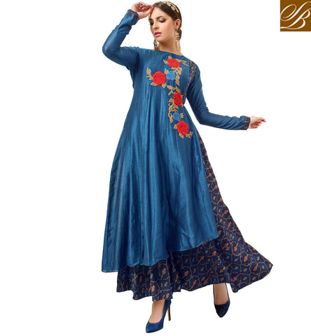 STYLISH BAZAAR BUY ASIAN BLUE DESIGNER WEDDING GOWN STYLE WOMEN SALWAAR KAMEEZ ONLINE LATEST EMBROIDERED INDIAN DRESSES VDATF20825