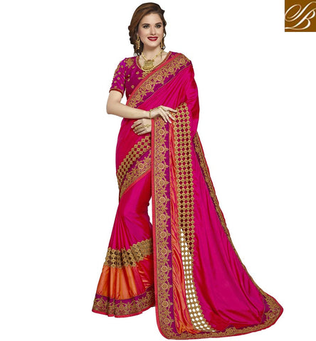 STYLISH BAZAAR DARK PINK DESIGNER SARI BLOUSE BOUTIQUE STYLE SOFT SILK SAREES ONLINE FOR WOMEN IN INDIA VDAZI19996