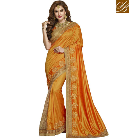 STYLISH BAZAAR BRIDAL ORANGE SILK SARI FOR WOMEN STYLISH BAZAAR BENGAL SILK SAREES COLLECTION ONLINE WITH PRICE VDAZI19998