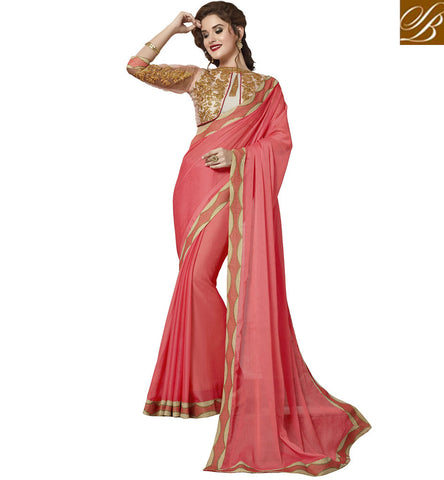 STYLISH BAZAAR BABY PINK DESIGNER SILK SARI WITH EMBROIDERED BORDER DESIGNER INDIAN SILK SAREE FOR INDIAN WOMEN VDAZI19999
