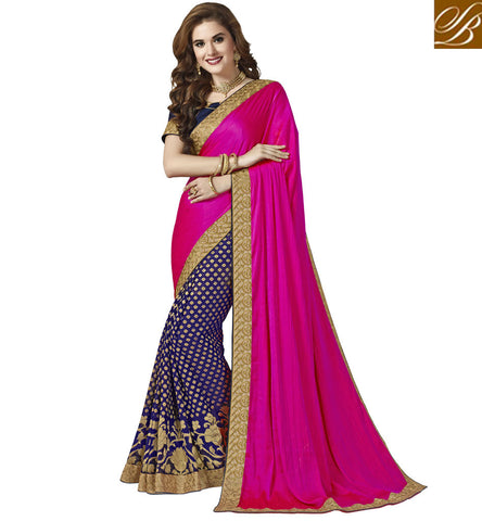 STYLISH BAZAAR EXCLUSIVE POLKA DOT STYLE FLOWER PATTERN SILK SAREE DESIGNER SILK HALF SAREE FOR WEDDING ONLINE VDAZI20000