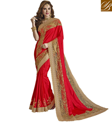 STYLISH BAZAAR RED HOT DESIGNER EMBROIDERED WOMEN SAREE ONLINE ETHNIC DUKAAN OF FASHIONABLE SILK SAREE STYLISH BAZAAR VDAZI20001