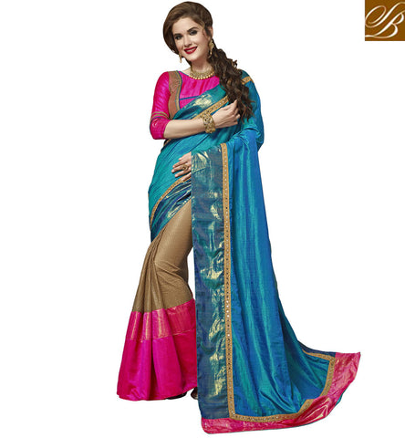 STYLISH BAZAAR BLUE & PINK HALF AND HALF DESIGNER SAREE WITH PINK BLOUSE INDIAN  WOMEN SILK SAREE BLOUSE COLLECTION VDAZI20002