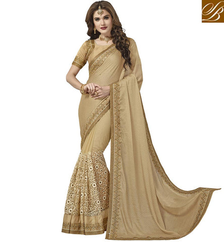 STYLISH BAZAAR DESIGNER BEIGE SAREE SHOPPING IN LATEST SILK HALF WEDDING SAREES STYLISH BAZAAR NEW SARIS COLLECTION VDAZI20003