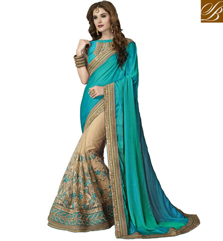 STYLISH BAZAAR CHARMING BEIGE AND BLUE EMBROIDERED DESIGNER SAREE WITH GOLD BORDER SILK SARI COLLECTION FOR WOMEN VDAZI20004