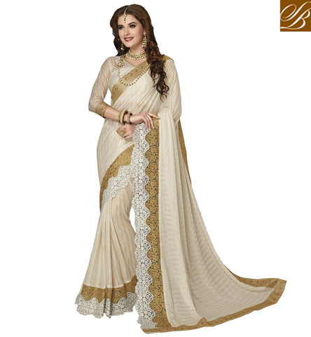 STYLISH BAZAAR STYLISH OFF WHITE LYCRA SAREE WITH GOLD EMBROIDERED BORDER AND V NECK BLOUSE FOR WOMEN ONLINE VDAZI20005