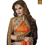 FROM STYLISH BAZAAR CLASSIC BLACK AND ORANGE COMBINATION CHIFFON SAREE WITH HIGH COLLAR NECK BLOUSE ONLINE SHOPPING INDIA VDAZI20006