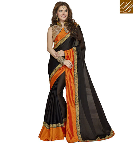 STYLISH BAZAAR CLASSIC BLACK AND ORANGE COMBINATION CHIFFON SAREE WITH HIGH COLLAR NECK BLOUSE ONLINE SHOPPING INDIA VDAZI20006