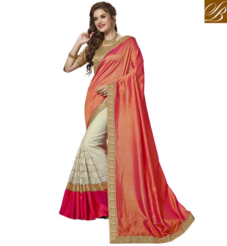 STYLISH BAZAAR HEAVY DESIGNER SILK GOLD BORDER HALF SAREE FOR WOMEN IN INDIA STYLISH BAZAAR ETHENIC DUKAN VDAZI20007