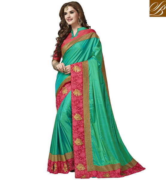 STYLISH BAZAAR CHARMING BLUE COLORED PINK BORDER WEDDING WEAR SILK SAREE FOR WOMEN DESIGNER SAREES COLLECTION WITH PRICE VDAZI20008