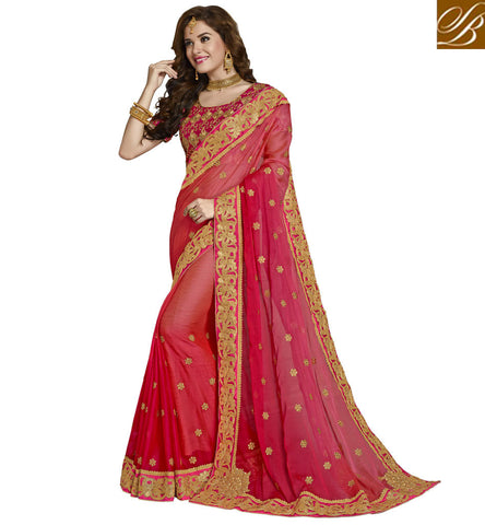 STYLISH BAZAAR BUY AMAZING GOLDEN BORDER CHIFFON SAREE WITH TWO COLOR CHOICE STYLISH BAZAAR WEDDING SARIS COLLECTION VDAZI20010