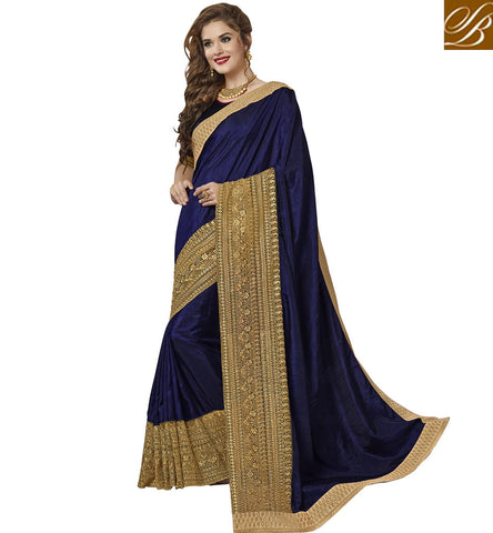 STYLISH BAZAAR EXCELLENT PLAIN BLUE SAREE WITH HEAVY GOLDEN BORDER NEW WEDDING WEAR SILK SARI COLLECTION 2017 VDAZI20012