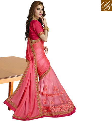 STYLISH BAZAAR LIGHT DARK SHADED PINK COLOR SAREE BLOUSE WITH GOLDEN BORDER WEDDING WEAR SAREE COLLECTION ONLINE VDAZI20013
