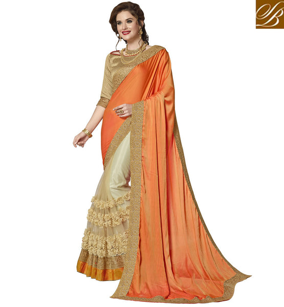 STYLISH BAZAAR ORANGE AND BEIGE SILK SAREE WITH BANGALORI SILK BLOUSE LATEST WEDDING HALF SARI BLOUSE DESIGNS VDAZI20014