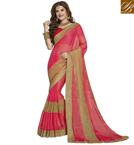 STYLISH BAZAAR GORGEOUS DESIGNER PINK CHIFFON SAREE WITH GOLDEN BORDER NEW WEDDING SARI COLLECTION OF STYLISH BAZAAR VDAZI20015