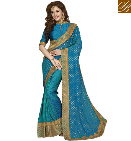 STYLISH BAZAAR DAZZLING SKY BLUE DESIGNER SILK SAREE WITH HIGH COLLAR BLOUSE NEW BOUTIQUE WEDDING SARIS COLLECTION VDAZI20016