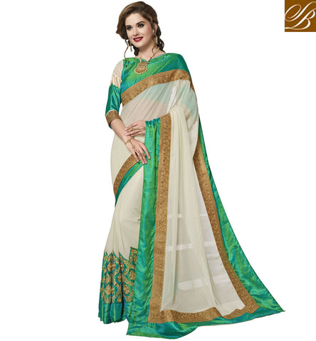 STYLISH OFF WHITE WEDDING WEAR SAREE DESIGN FOR WOMEN IN INDIA ETHENIC BOUTIQUE SARIS COLLECTION VDAZI20017