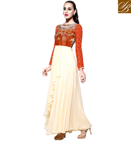 Latest designer party wear cream & orange crepe top with santoon bottom VDBLU23175