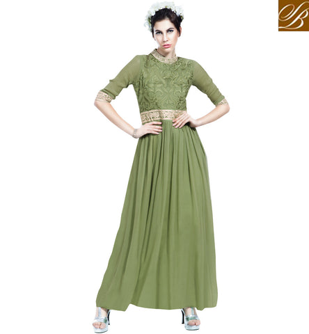 Buy green Indian party wear georgette gown for women in US, UK & Canada VDBLU23177