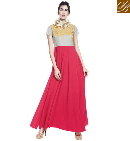 STYLISH BAZAAR Shop floral embroidered Indio-western party wear pink and beige gown VDBLU23179